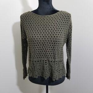 Jeanne Pierre Olive Green Crochet Sweater SZ M